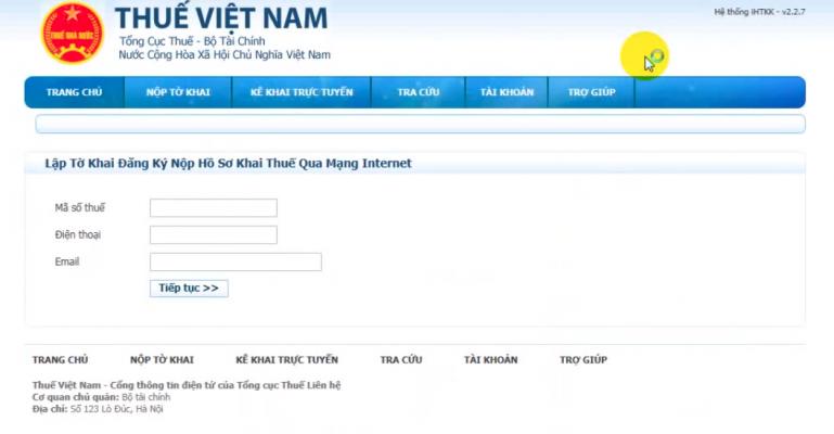 Lập tờ khai đăng ký nộp thuế qua mạng internet
